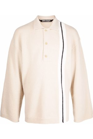 Palm Angels Men Polo Shirts - Side-stripe knit polo shirt - Neutrals