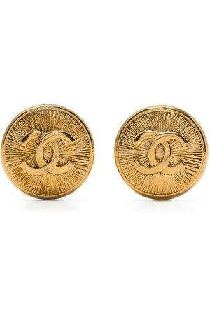 CHANEL 1990s CC button earrings
