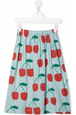 The Animals Observatory Girls Printed Skirts - Cherry-print plated skirt