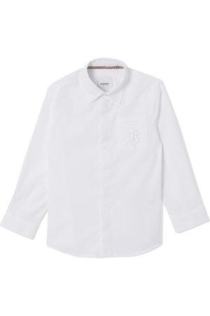 Burberry Kids Monogram-embroidered cotton shirt