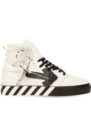 OFF-WHITE Vulcanized High Top Leather Sneakers