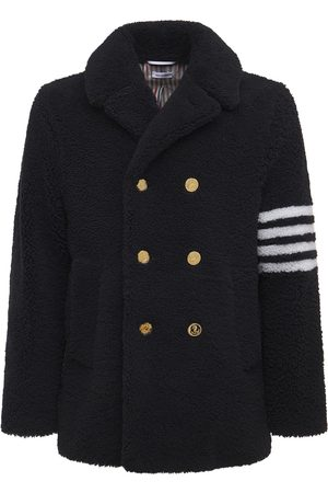 Thom Browne Unconstructed Shearling Peacoat W/ 4bar