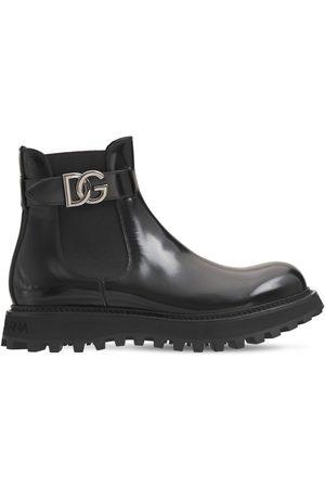 Dolce & Gabbana Logo Bernini Beatle Leather Boots