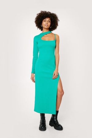 NASTY GAL Womens Ribbed Cut Out Neckline Bodycon Midaxi Dress