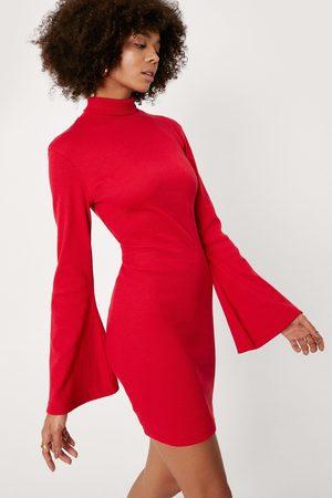 NASTY GAL Womens High Neck Flare Sleeve Bodycon Mini Dress