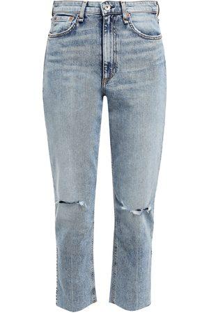 RAG & BONE Women Bootcut - Woman Nina Distressed High-rise Kick-flare Jeans Mid Denim Size 23