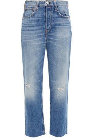 RAG&BONE Women Slim - Woman Cropped Distressed High-rise Slim-leg Jeans Mid Denim Size 23