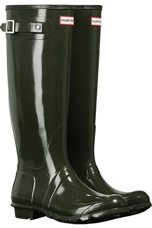 Hunter Women High Leg Boots - Original Tall Gloss s Wellies - Dark Olive