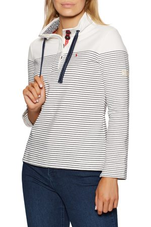 Joules Women Jumpers - Saunton Funnel Neck s Sweater - Cream French Navy Stripe