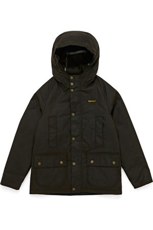 Barbour Hooded Beaufort Boys Wax Jacket - Olive