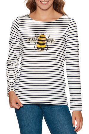 Joules Harbour Luxe s Long Sleeve T-Shirt - Bee Embellishment