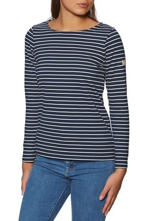 Joules Harbour s Long Sleeve T-Shirt - Navy Cream Stripe
