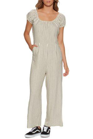 Afends Penny Hemp Stripe s Jumpsuit - Cream