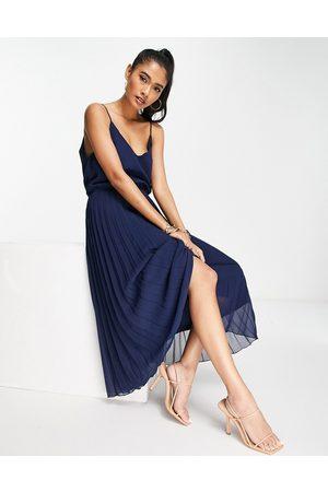 ASOS Women Midi Dresses - Pleated cami midi dress with drawstring waist in navy