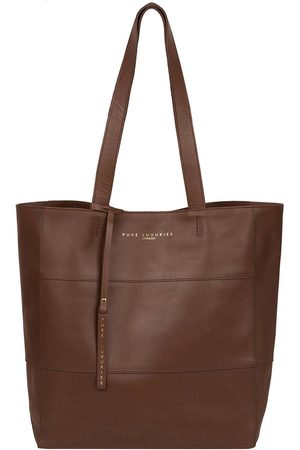 Pure Luxuries London Ashurst Large Magnetic Open Top Unlined Leather Tote Bag - Ombre Chestnut