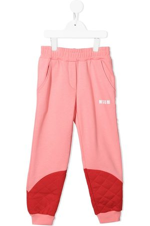MSGM Kids Quilted panel track pants