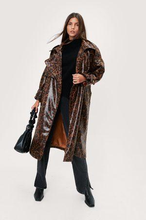 NASTY GAL Women Trench Coats - Womens Leopard Print Embossed Vinyl Trench Coat