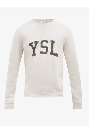 Saint Laurent Logo-print Cotton-jersey Sweatshirt - Mens