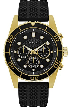 Bulova Black And Gold Chronograph Dial Black Silicone Strap Mens Watch