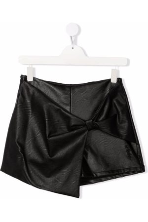 Pinko Kids TEEN leather-effect bow-detail shorts