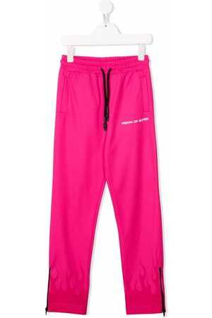 Vision Of Super Kids Flame-trim straight joggers
