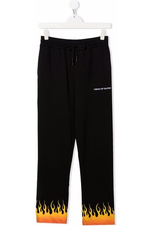 Vision Of Super Kids TEEN flame-trim straight joggers