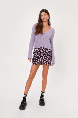 NASTY GAL Women Mini Skirts - Womens Floral Print Button Detail Mini Skirt