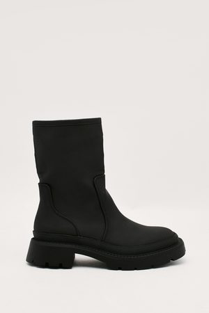 NASTY GAL Womens Cleated Low Heel Ankle Wellie Boots