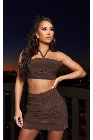 PRETTYLITTLETHING Chocolate Slinky Ruched Detail Halterneck Bandeau Top