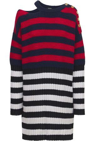 BALMAIN Wool Blend Knit Striped Dress