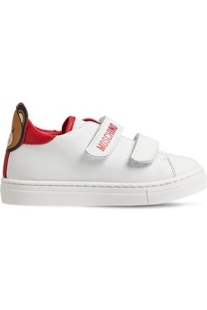 MOSCHINO Teddy Bear Strap Leather Sneakers
