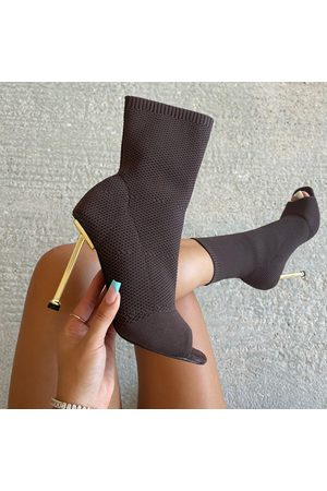 simmi.com Women Ankle Boots - Katiya Knitted Peep Toe High Heel Ankle Boots
