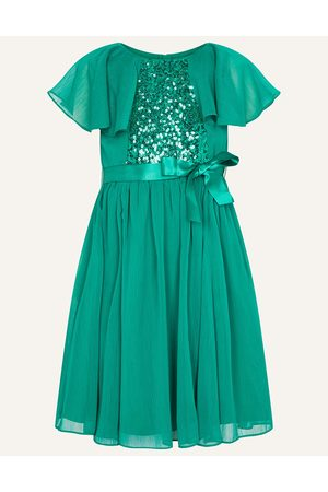 Monsoon Sequin Cape Sleeve Dress , Embellished, in Size: 8 Years