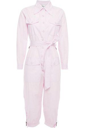ANTIK BATIK Women Jumpsuits - Woman Kala Cropped Belted Cotton-broadcloth Jumpsuit Lilac Size L
