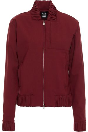 APL® ATHLETIC PROPULSION LABS Women Bomber Jackets - Woman Gathered Wool-blend Bomber Jacket Burgundy Size L