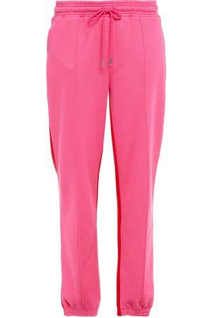 NINETY PERCENT Women Trousers - Woman Two-tone Organic Cotton-fleece Track Pants Fuchsia Size L