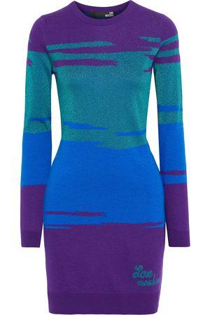 LOVE MOSCHINO Women Knitted Dresses - Woman Metallic Jacquard-knit Mini Dress Size 38