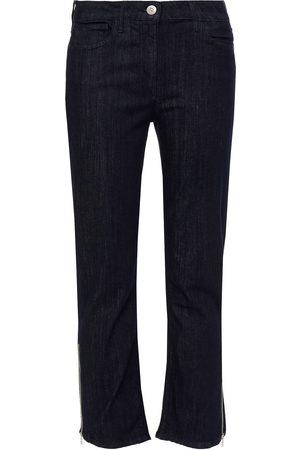 3X1 Woman Alpha Cropped Zip-detailed High-rise Bootcut Jeans Dark Denim Size 26