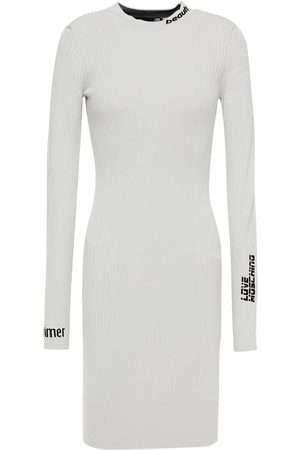 LOVE MOSCHINO Woman Jacquard-knit Mini Dress Stone Size 38