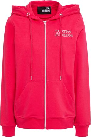 LOVE MOSCHINO Women Summer Jackets - Woman Embellished French Cotton-blend Terry Track Jacket Fuchsia Size 38