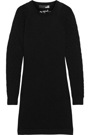 LOVE MOSCHINO Women Knitted Dresses - Woman Pointelle-paneled Embroidered Knitted Mini Dress Size 38