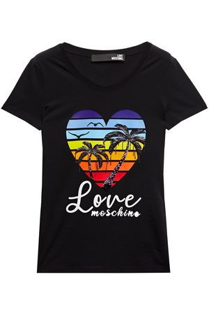 LOVE MOSCHINO Women Short Sleeve - Woman Embellished Printed Stretch-cotton Jersey T-shirt Size 38