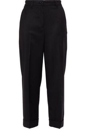 LOVE MOSCHINO Women Trousers - Woman Logo-appliquéd Cropped Crepe De Chine Straight-leg Pants Size 38