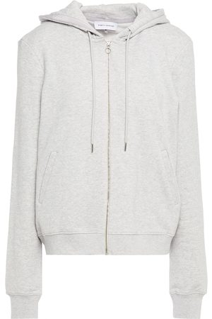 NINETY PERCENT Women Summer Jackets - Woman Mélange French Cotton-terry Hooded Track Jacket Stone Size L