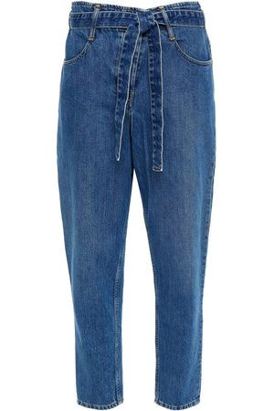 3X1 Women Slim - Woman Spencer Cropped Belted High-rise Slim-leg Jeans Mid Denim Size 23