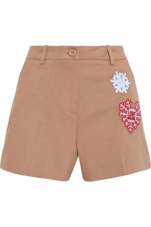 LOVE MOSCHINO Women Shorts - Woman Embroidered Cotton-blend Twill Shorts Sand Size 40