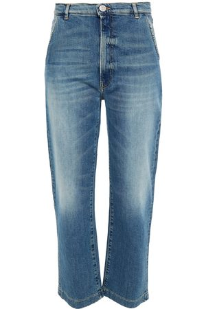3X1 Women Straight - Woman Eiza Cropped Distressed Mid-rise Straight-leg Jeans Mid Denim Size 24