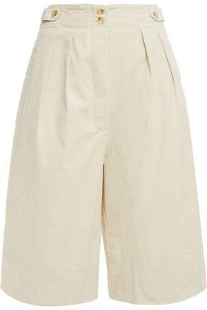 ANTIK BATIK Women Shorts - Woman Mona Pleated Cotton-blend Corduroy Shorts Ivory Size 36