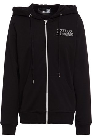 LOVE MOSCHINO Women Summer Jackets - Woman Embellished French Cotton-blend Terry Track Jacket Size 38