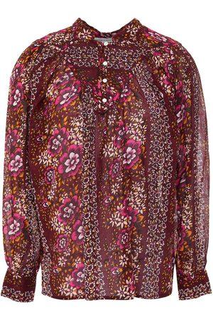 ANTIK BATIK Women Blouses - Woman Lady Gathered Floral-print Cotton-voile Blouse Plum Size 36